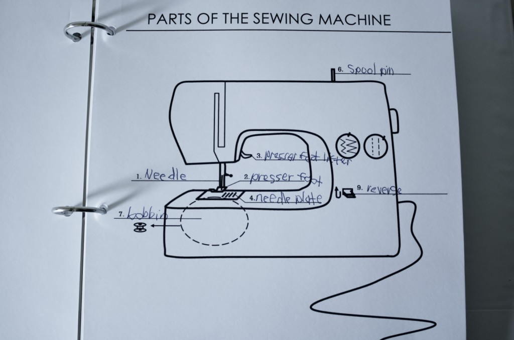 1: parts of the sewing machine – with kids – yellow spool