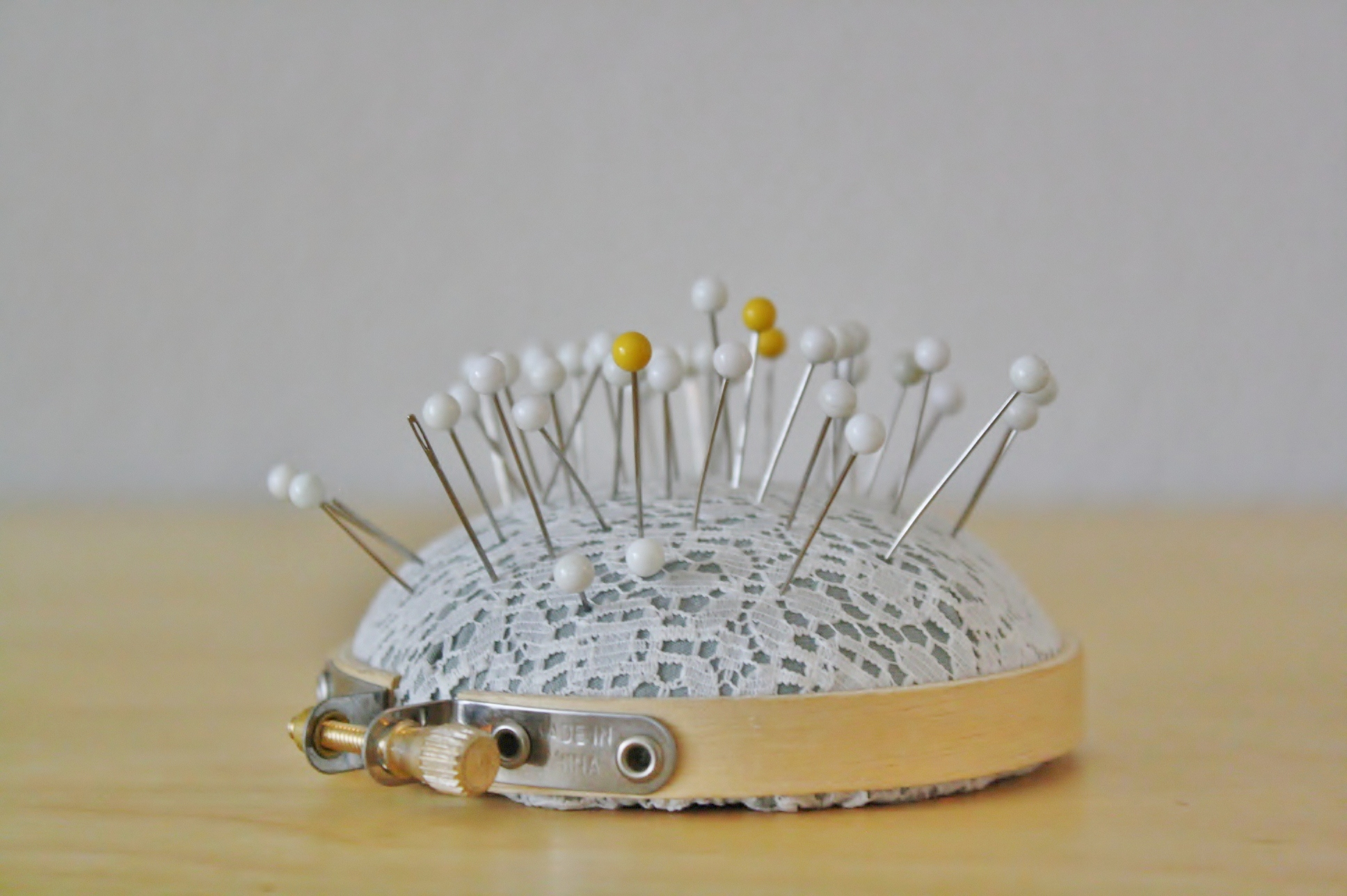 embroidery hoop pin cushion