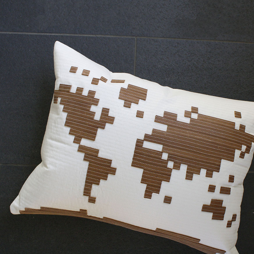 LEATHER world map pillow